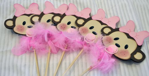 Amazon Large Monkey Baby On A Stick Baby Shower Centerpiece Prop Set Of 5  Girl Kitchen