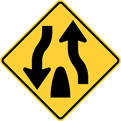 Traffic Signs - Divided Highway Ends (Symbol) 12 x 18 Aluminum Sign Street Weather Approved Sign ()