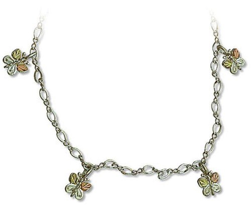 Landstroms Black Hills Silver and Gold Butterfly Necklace, 18