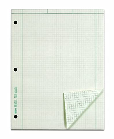 TOPS Engineering Computation Pad, 3-Hole Punched, 8.5 x 11 Inches, 5 Squares per Inch, 100 Sheets, Green, - Graph Pad