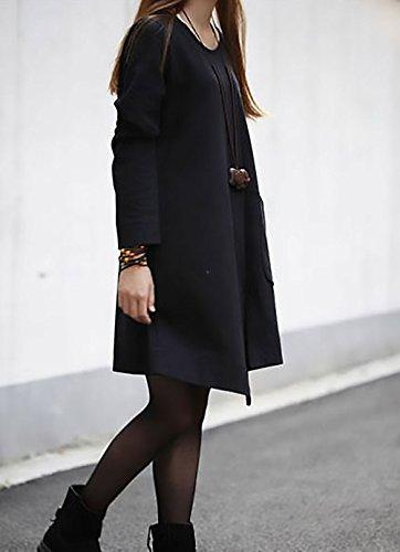... Kleider Damen Elegant Langarm Rundhals Locker Unifarben Irregular  Asymetrisch Hem Vintage Young Fashion Herbst Winter Shirtkleider 21b550d566