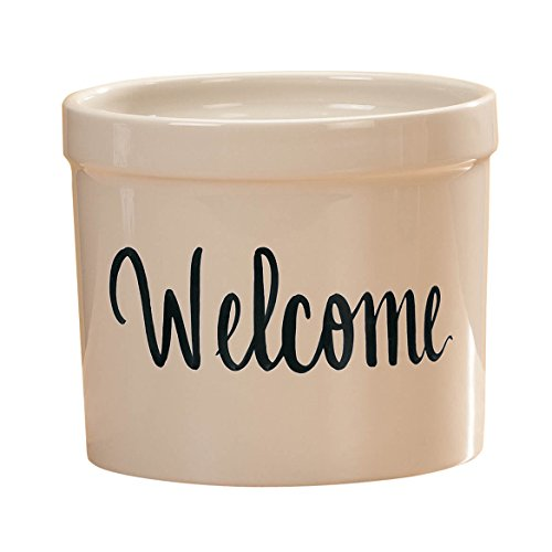 Personalized Stoneware Crock, 3-Quarts, Natural Finish, Customizable Utensil Holder Housewarming Gift - ()