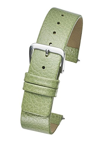 Green Leather Strap Watch - Genuine Leather Watch Band - Smooth Flat Leather Watch Strap 16mm - Green