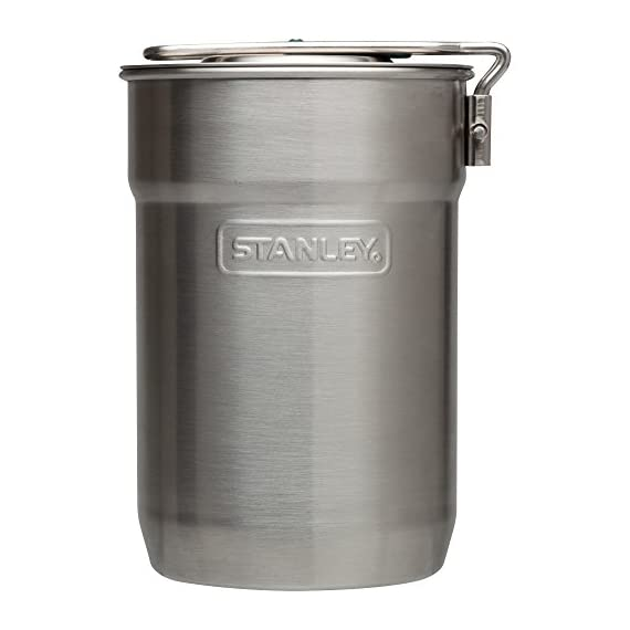 Stanley Camp 24oz. Cook Set 3 Stainless steel, single-wall cooking pot with vented lid and two-position handle. Two 10oz. insulated plastic cups. Dishwasher safe.