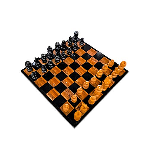 (Italian Black and Brown Marble Chessboard Scacchiera Handmade Classic Table Chess Set with Pawns 20x20cm 8in)