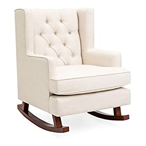 Best Choice Products Tufted Upholstered Wingback Rocking Accent Chair, Living Room, Bedroom w/Wood Frame - Beige