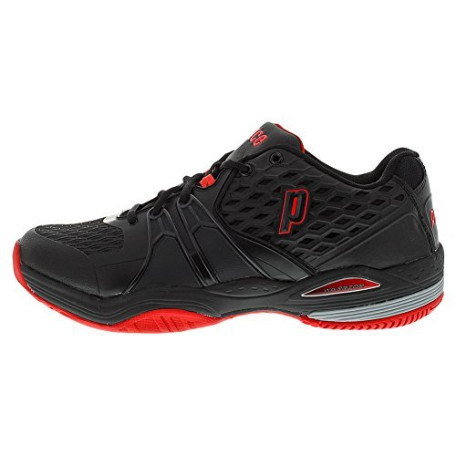 Prince Court Shoes (Prince Men`s Warrior Hard Court Tennis Shoes Black and Red-(8P431-023B))