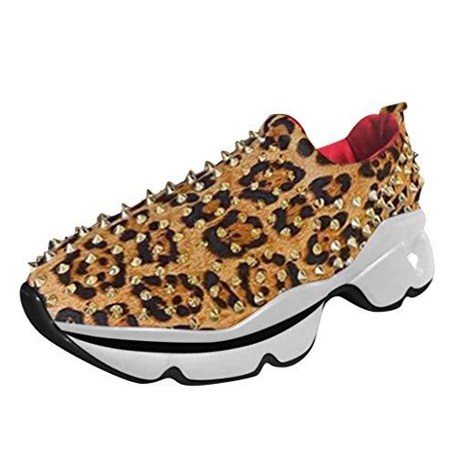 Deloito Damen Freizeit Turnschuhe Niet Schnüren Sport Schuhe Leopardenmuster Tief Geschnitten Wanderschuhe Runder Zeh Flache Sneaker