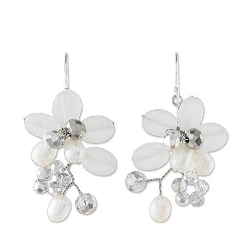 NOVICA White Quartz Cultured Freshwater Pearl .925 Sterling Silver Cluster Earrings, Winter Moment'