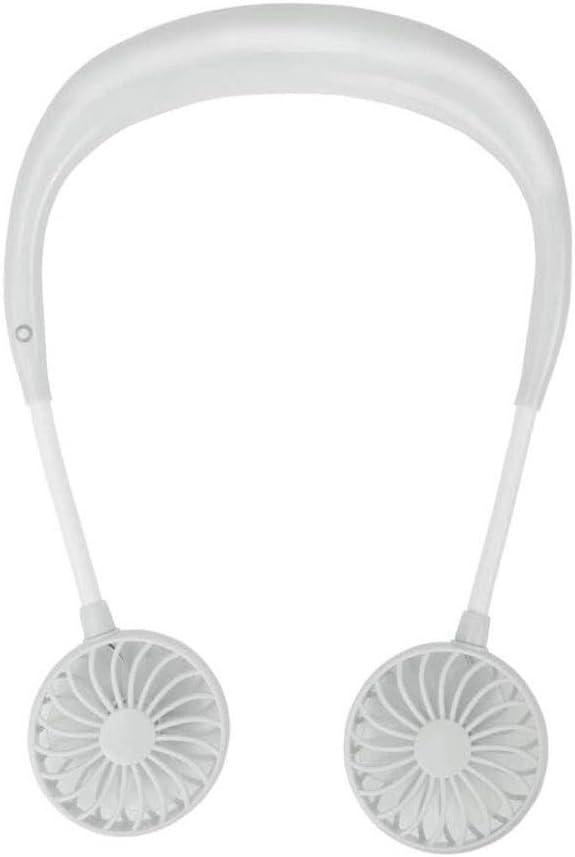 Color : White Gym Fan Portable Hands-Free Personal Fan Hands-Free Neck Fan Earphone Design Can Be Worn Portable USB Charging Neck Strap Mini Fan