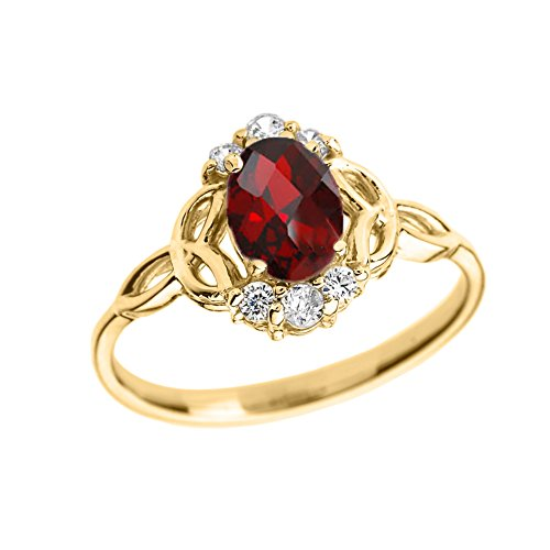 Elegant 10k Yellow Gold Diamond Trinity Knot Proposal Ring with Genuine Garnet (Size 7) (Diamond Knot Ring)