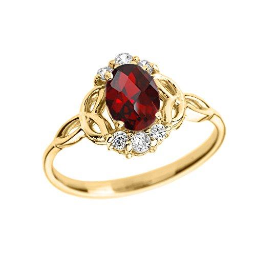 Elegant 14k Yellow Gold Diamond Trinity Knot Proposal Ring with Genuine Garnet (Size - Diamond Ring Trinity Knot