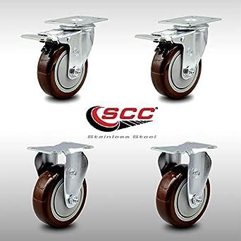 """Set 8 Swivel Plate Caster Total Lock Brake 4/"""" BLUE Polyurethane Wheel"""