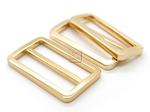 (CRAFTMEmore 1SET GOLD FLAT Metal Purse Slider and Loops 1PC Slide Buckle with 2PCS Rectangular Rings Leather Craft (1 1/2)