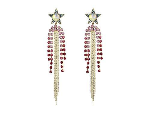 Pink Betsey Johnson Crystal - Betsey Johnson Women's Star Chandelier Earrings Pink One Size