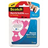 SCOTCH R100PNK Restickable Mounting Tabs, 7/8