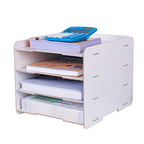 - Bookcases LDFN Office File Rack Storage Box Desktop Organizer File Folder Data Rack Vertical Rack Book Stand,White
