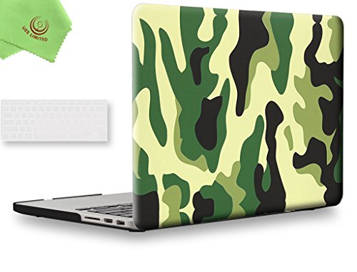UESWILL 2in1 Plastic Hard Case with Clear Keyboard Cover for MacBook Pro (Retina, 13-inch, Late 2012 to Early 2015), Model A1425 / A1502, NO CD-ROM, - Retina 13 Macbook Pro Case Camo