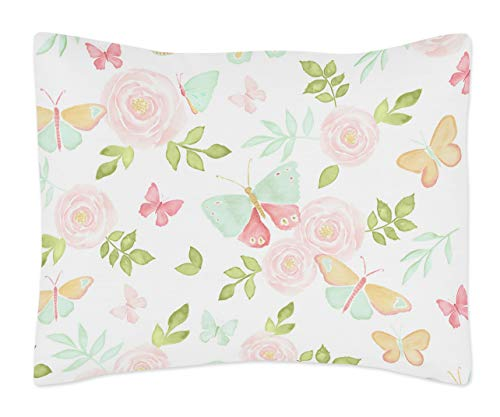 Sweet Jojo Designs Blush Pink, Mint and White Watercolor Rose Standard Pillow Sham for Butterfly Floral Collection Green, Gold