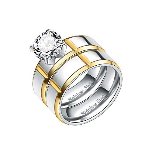 Lavencious Stainless Steel Ring Bridal Set with Clear CZ Stone 6 mm Wedding Ring for Women 6-10 (2 Tone, 9)