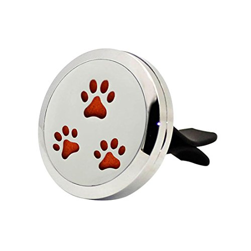 Tharv Stainless Car Vent Clip Paw Prints, Angels Perfume Clip Purifiers Portable Aroma Diffusers Fragrance Oil Diffuser Locket (Not Included Supplemental Pad) (D)