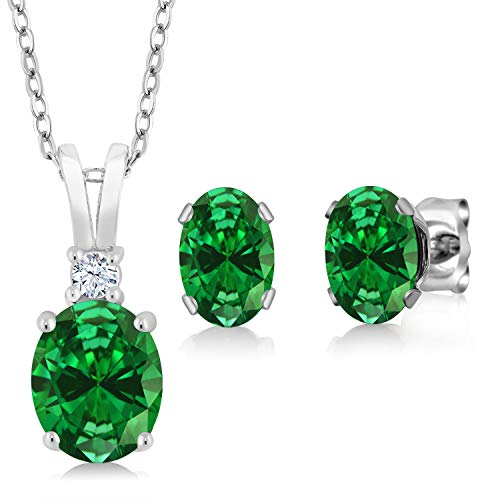 (Gem Stone King 4.63 Ct Oval Green Simulated Emerald 925 Sterling Silver Pendant Earrings Set)