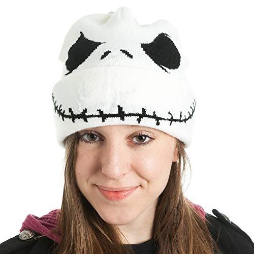 Bioworld Jack Skellington Beanie Nightmare Before Christmas Xmas Hat Cap White