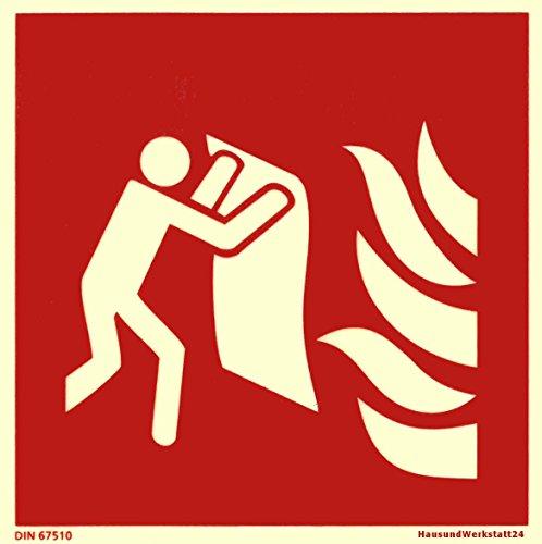 Brandschutzzeichen Feuerlöschdecke Piktogramm ISO7010 / F016, 15x15cm Kunststoff nachleuchtend KNS