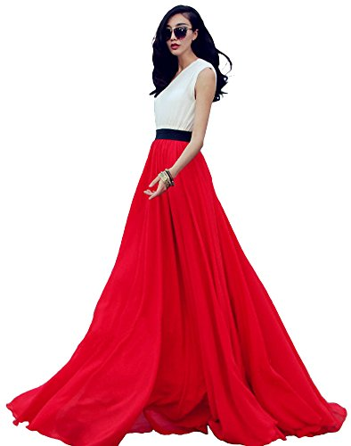 - Women's Summer Chiffon Mopping Floor Length Big Hem Solid Beach Maxi Skirt (Small, Red)