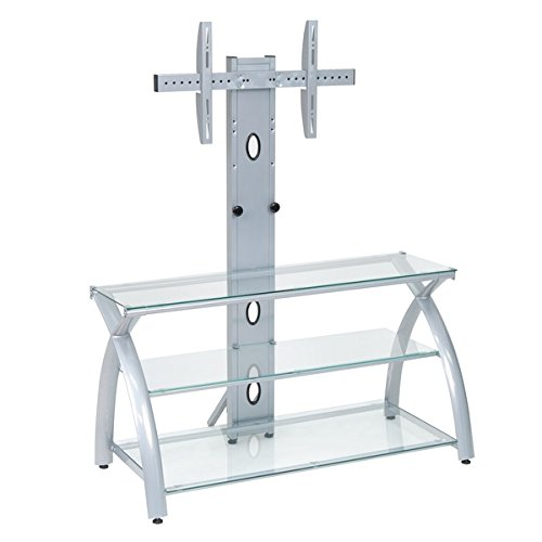 Price comparison product image Offex Futura TV Stand with Tower Glass - Silver / Clear