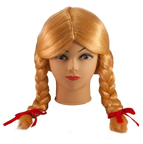 Loftus International Loftus Braided Pigtails with Red Bows Costume Wig, Blonde, One Size Novelty Item]()