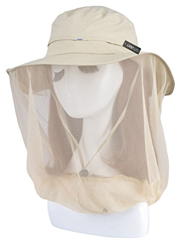 Camo Coll Women's Outdoor UPF 50+ Sun Hat with Mesh Face Mask (One Size, Light Khaki)