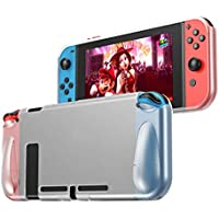 PHOCAR Protective Case Grip Cover Compatible with Nintendo Switch Console and Joy-Con Controller - Clear