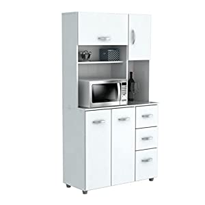 Inval America GCM-042 4 Door Storage Cabinet with Microwave Cart, Laricina White