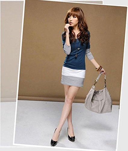 GOTD Womens Casual Long Sleeve Bodycon Stripe Cocktail Party Mini Dress (M, Blue) by GOTD (Image #4)