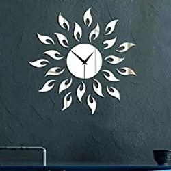 Alrens_DIY(TM)Silver Sparkly Sun Special New Creative Art Mordern Luxury Design Acrylic Non-ticking Quiet Quartz Wall Clock DIY Removable 3D Crystal Mirror Wall Clock Wall Sticker Home Decor Art Living Room Bedroom Office Decoration