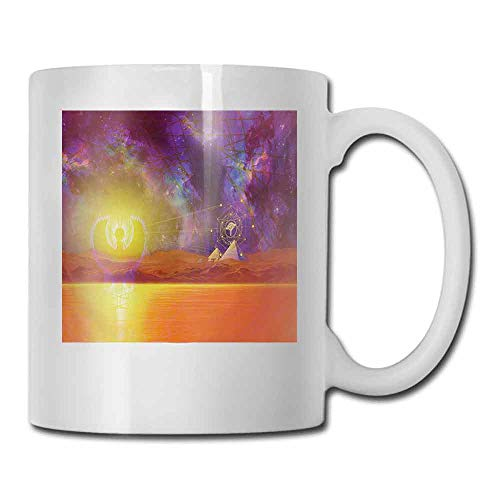 Ceramic Cup Egypt Secret Proportion of the Universe Sign with Triangles and Lines Scenery Print Decorative Cup 11 oz Purple Orange]()