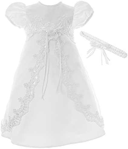 Meiqiduo Baby Girl Dress Christening Baptism Gowns Tulle Formal Dress