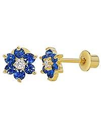 18k Gold Plated Navy Blue & Clear Crystal Flower Children Screwback Earrings