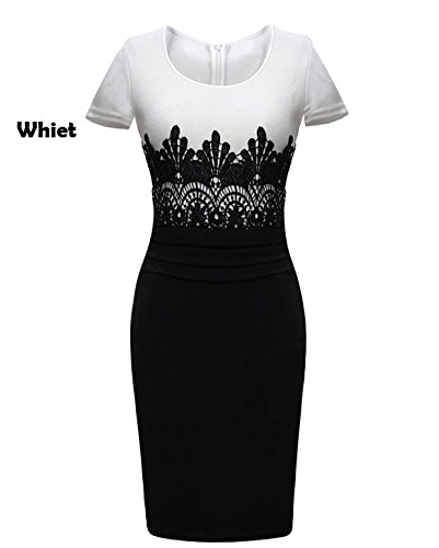 Zeagoo Women's Celeb Cap Sleeve Lace Splicing Evening Pencil Midi Bodycon Dress