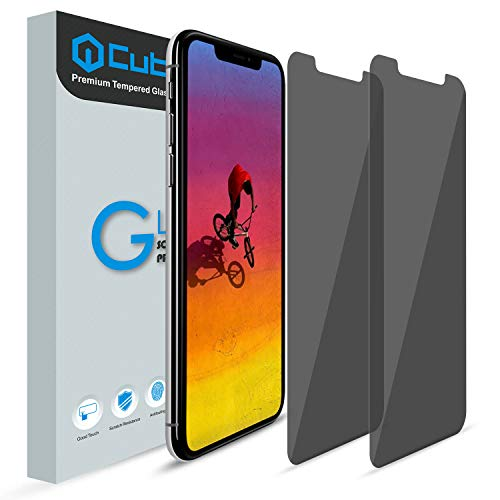 iPhone Xs Max Screen Protector, [Anti Visual Hacking] [LIFETIME Warranty] [2 Pack] Cubevit iPhone Xs Max Privacy Tempered Glass Screen Protector, Anti Spy Screen Protector for iPhone Xs Max