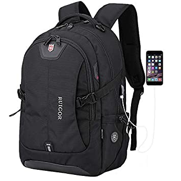 "Anboer Swiss Black Laptop Travel Backpack, Large Capacity Computer Back Pack with Lots of Pockets,Water Repellent College Shoulder Bookbag-Fits Most 17"" Inch Laptops with USB Port"