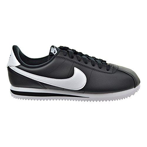 NIKE Cortez Basic Leather Men's Shoes Black/White/Metallic Silver 819719-012 (8 D(M) US) For Sale