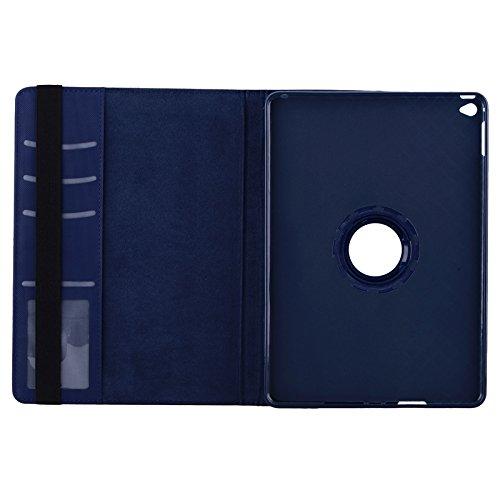 para iPad Air 2 / iPad 6 color brillante 360 grados de rotación cubierta elegante funda de cuero PU con soporte y ranuras para tarjetas Haoweiwei ( Color : Red ) Dark Blue