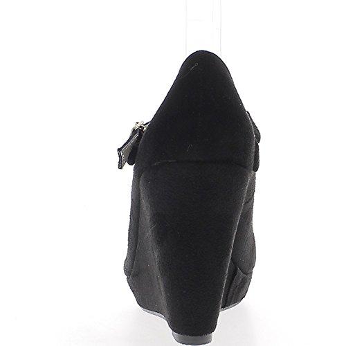 Compensées noires à talon de 9,5cm aspect daim avec fine bride