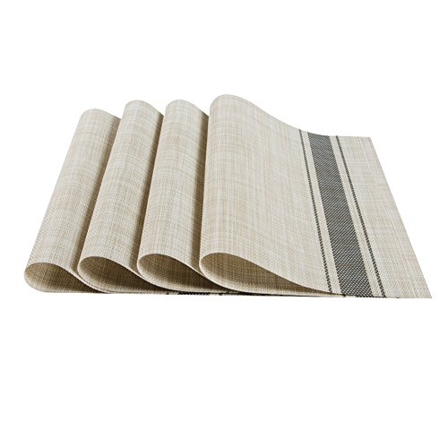Top Finel Eco-friendly Natural Stripe Rectangle Bamboo PVC Restaurant Place Mats for Dining Table 12