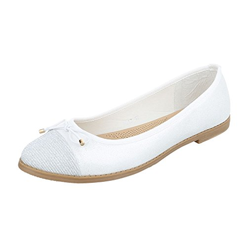 Ital-Design Ballerinas Damenschuhe Geschlossen Blockabsatz Blockabsatz Ballerinas Weiß 9817