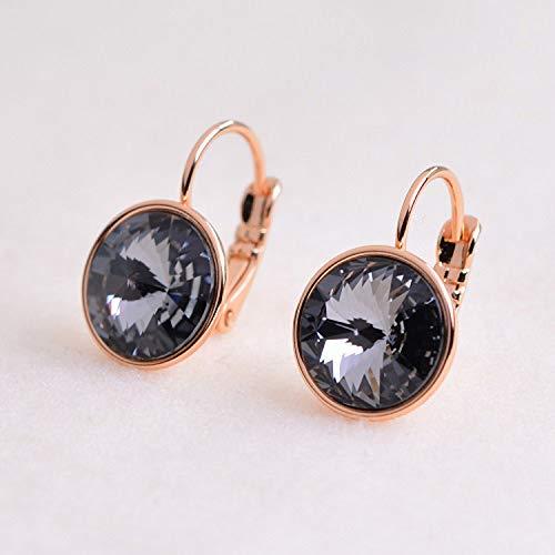 - Earrings Rose Gold Color Austrian Crystal Earrings For Women Fashion Round Earrings gold clip on earrings,black