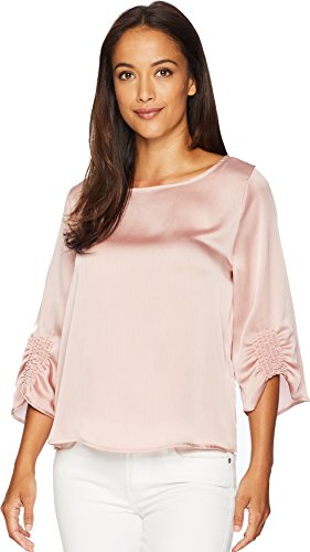 Vince Camuto Womens Gathered Sleeve Boat Neck Satin Blouse Pink Fawn (Gathered Sleeve Blouse)