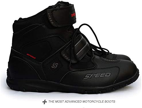 YTGOOOD Motorcycle Shoes,Men Soft Motorcycle Boots Biker Waterproof Speed Motocross Boots Non-slip Motorbike Shoes black 8